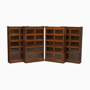Modular Adjustable Stacking Legal Library Bookcases from Minty Oxford, Set of 4