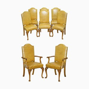 Art Deco Hand Carved Walnut & Leather Denby & Spinks Dining Chairs, Set of 8