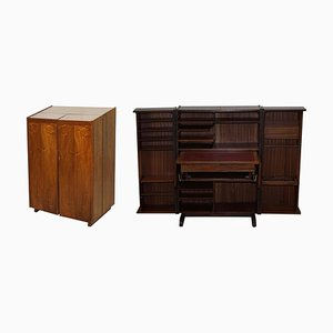 Vintage Teak Home Office Desk with Compendium Work Station that Folds Away, 1960s