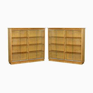 Matching English Oak Library Study Bookcases with Glazed Doors, Set of 2