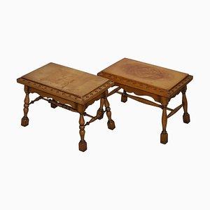 Large English Edwardian Oak & Leather Studded Side Tables, 1910s, Set of 2