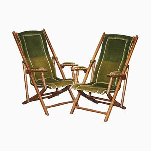 Victorian Military Campaign Steamer Liner Folding Chairs, Set of 2