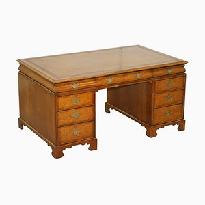 Burr Walnut & Brown Leather Cushion Drawer Partner Desk from Hamptons & Sons