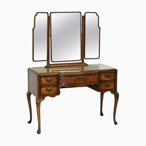 Burr & Burl Walnut Dressing Table with Trifold Mirrors & Glass Top, 1930s