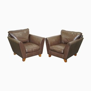 Brown Leather Club Armchairs, Set of 2