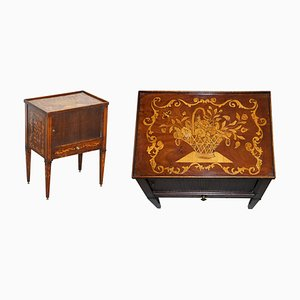 19th Century Dutch Marquetry Inlaid Side Table with Tambour Fronted Door