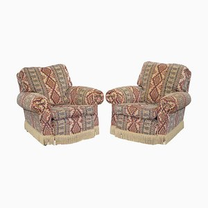 Mid-Century Art Deco Style Kilim Rug Upholstered Armchairs, Set of 2