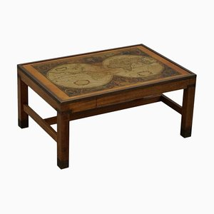 Vintage Military Campaign Style Brass World Map Coffee Table