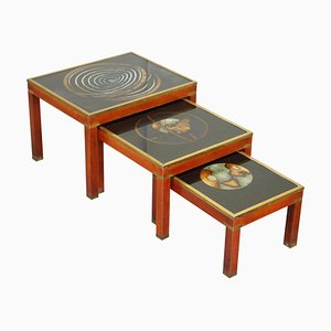 Very Large Nesting Tables with Rare Zodiac Astrology Maps to the Top, Set of 3
