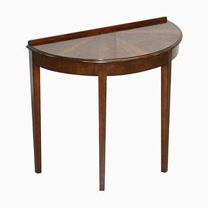Vintage Flamed Hardwood Demilune Console Side Table with Timber Patina