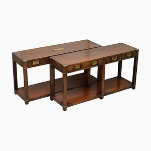 Military Campaign Console Tables with Drawers from Kennedy Furniture, Set of 2