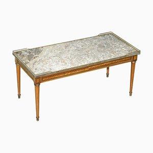 Antiker französischer Couchtisch mit Intarsien & Intarsien mit dicker Marmorplatte & Messingständer