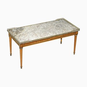 Antique French Marquetry Inlaid Coffee Table with Thick Marble Top & Brass Gallery Rail