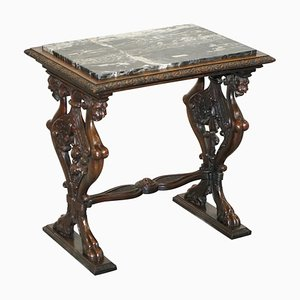 Italian Ornately Hand Carved Oak Side Table with Solid Marble Top, 1840s
