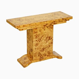 Art Deco Style Burr Walnut Console Table with Artistic Lines