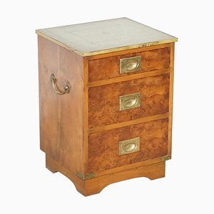 Burr Walnut, Green Leather & Brass Trim Military Campaign Side Table with Drawers