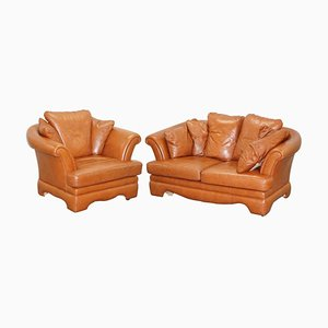 Small Aged Tan Brown Leather Sofa & Matching Armchair, Set of 2