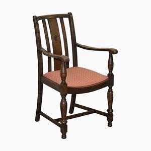 Englischer Eichenholz Carver Beistellstuhl mit Holz Patina, 1940er