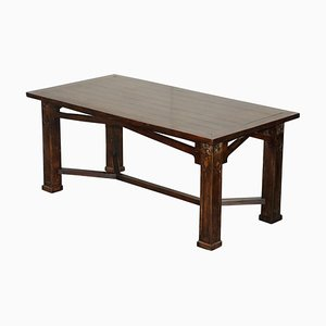 Art Nouveau Style Refectory Hayrake Dining Table with Carved Legs