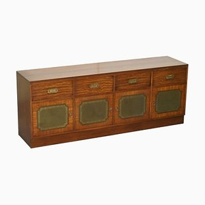Flamed Mahogany and Green Leather Military Campaign Sideboard
