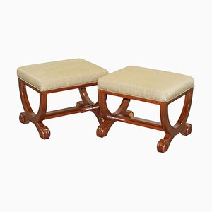 Large Regency Style Decorative Ornate Footstools with Curvey Frames, Set of 2