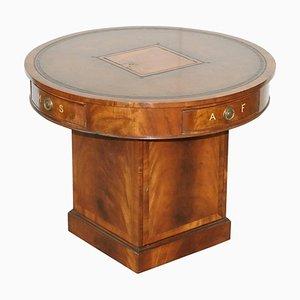 Antique Flamed Hardwood Revolving Rent Drum Table