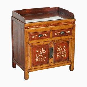 Antikes chinesisches lackiertes Redwood Sideboard mit Intarsien