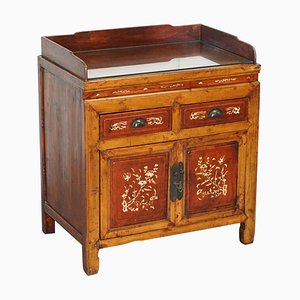 Antique Chinese Redwood Lacquered Inlaid Sideboard