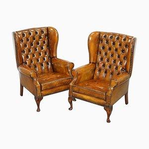 Chesterfield Wingback Brown Leather Armchairs, Set of 2