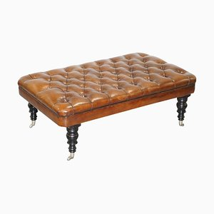 Brown Leather Chesterfield Hearth Footstool by George Smith