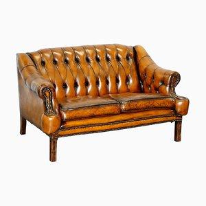 Canapé 2 Places Lutyens Style Viceroy Chesterfield en Cuir Teinté à la Main