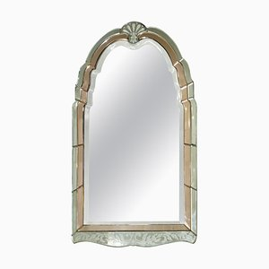 Peach French Art Deco Venetian Etched and Engraved Bevelled Mirror, 1930s