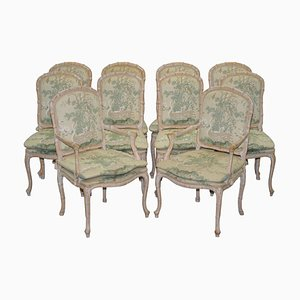 Vintage Dining Chairs with Swan & Birds Upholstery, Set of 10