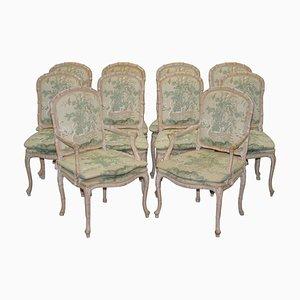 Vintage Esszimmerstühle mit Swan & Birds Bezug, 10er Set