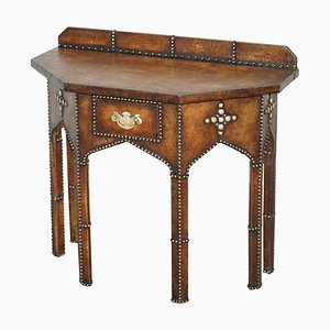 Pugin Style Brown Leather Studded Console Table