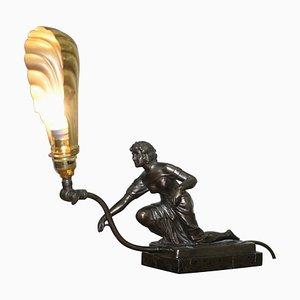 Art Deco Marmor & Bronze Statue Tischlampe