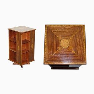 Burr Walnut & Hardwood Revolving Bookcase, 1900s
