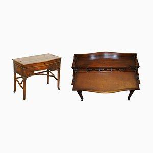 Klappbarer Schreibtisch mit brauner Lederplatte von Theodore Alexander