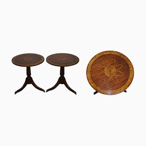 Burr Walnut Marquetry Inlay Side Tables, Set of 2