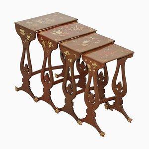 Chinesische Braune Lackierte Tische, 1880er, 4er Set