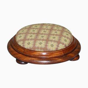 Georgian Small Round Walnut Footstool, 1780s