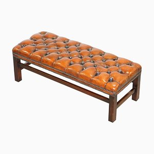 Vintage Chesterfield Brown Leather Footstool