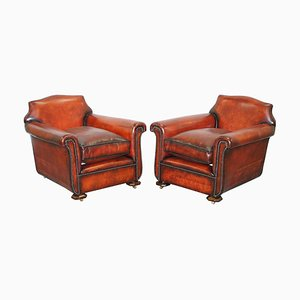 Art Deco Whisky Brown Leather Club Armchairs, Set of 2
