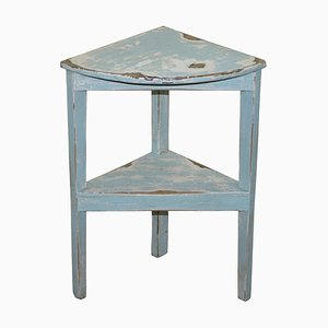 White and Egg Shell Blue Corner Plant Stand