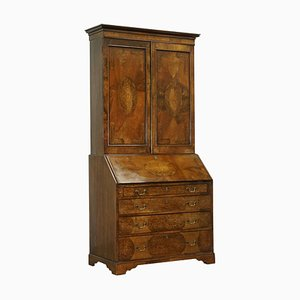 George III Style Seaweed Marquetry and Walnut Bookcase and Secretaire, 1760-1780