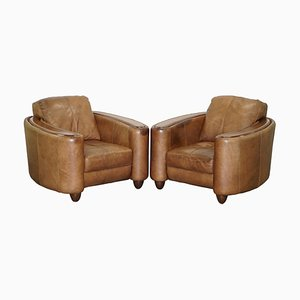 Brown Leather Art Deco Style Club Armchairs, Set of 2
