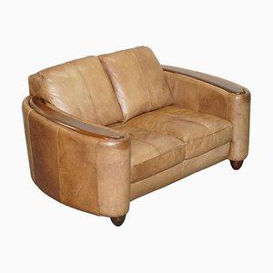 Brown Leather Art Deco Style Club Sofa