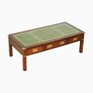Hardwood Coffee Table with Green Leather Surface