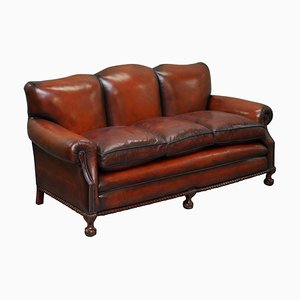 Victorian Brown Leather Sofa
