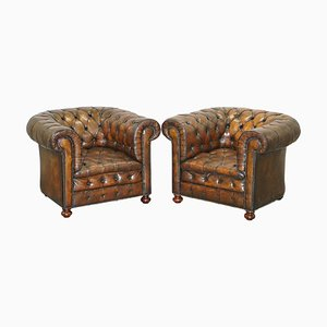 Cigar Brown Leather Chesterfield Armchairs, 1900s, Set of 2